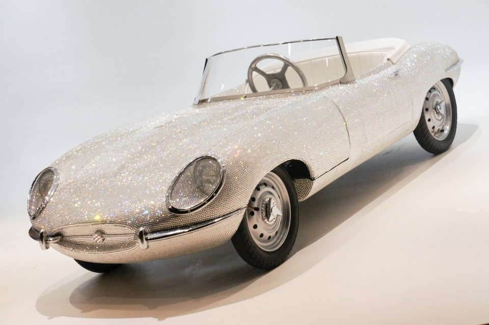Child's Jaguar E-Type adorned in 95,000 hand-applied Swarovski Xirius cut crystals