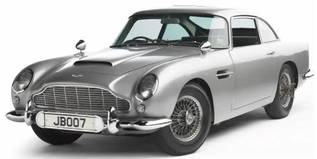 The 1965 Aston Martin DB5 car used in James Bond films